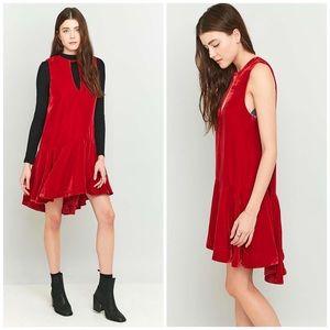 New Free People Red Velvet Drop Waist Dress